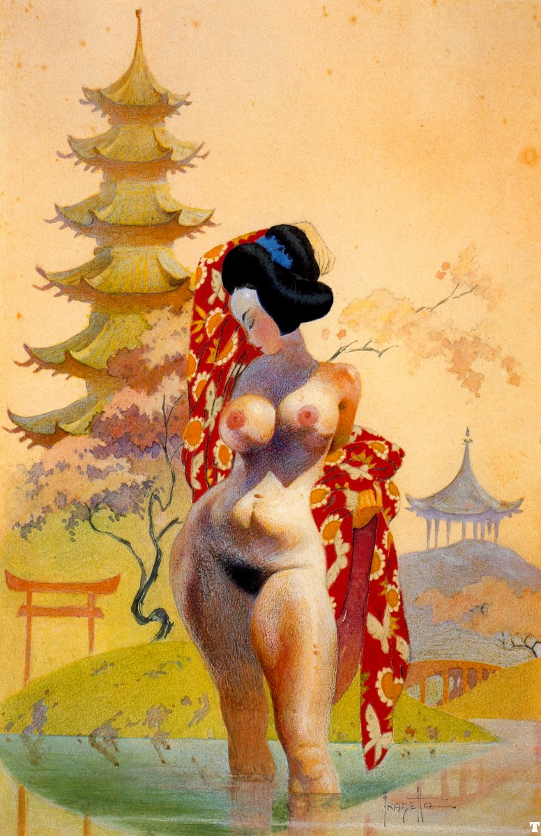 Japanese Girl Nude Painting