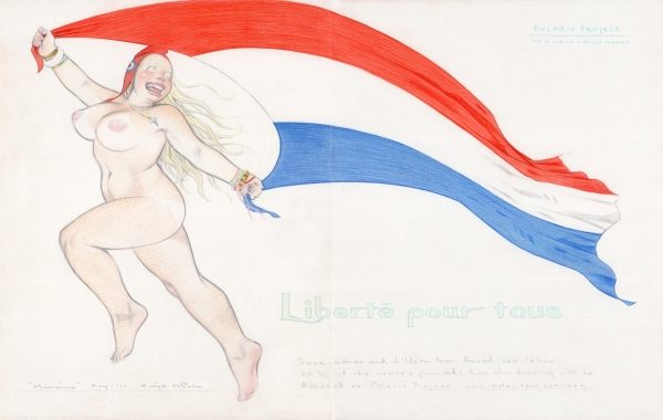 Sexy Nude Cartoon Girl Running With French Flag