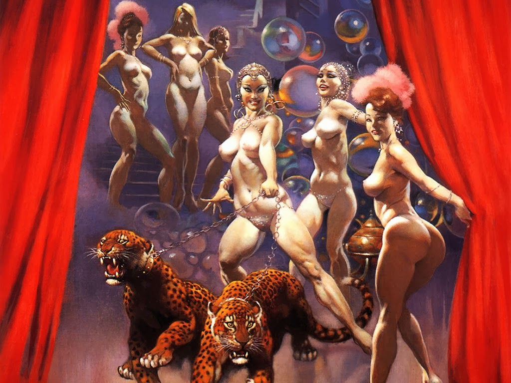 Tigers And Nude Girls Painting
