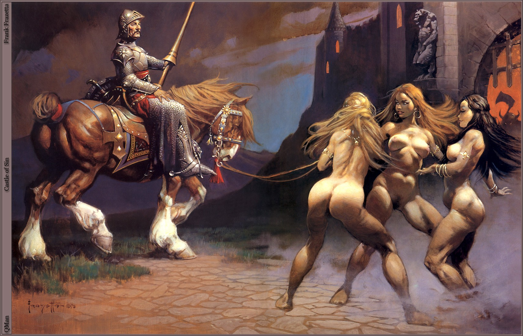 1 Knight And 3 Hot Muscular Girls Nude Painting