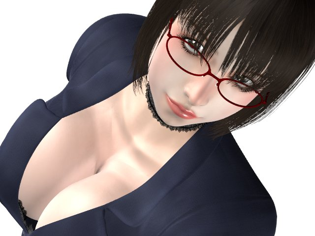Japanese CGI Woman With Glasses Cleavage