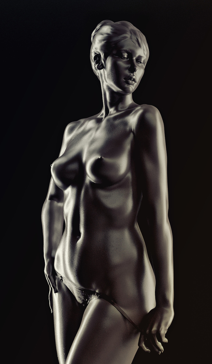CGI Nude Female Sculpture