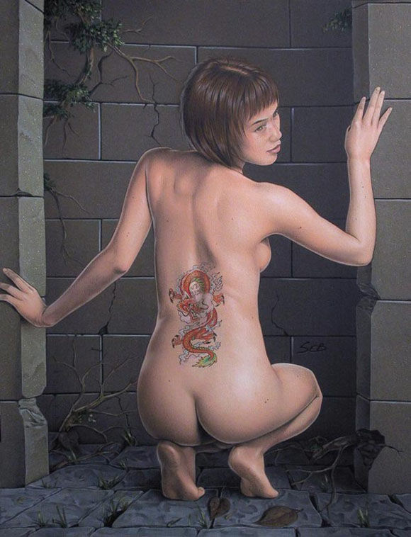 tattoo painted nude girl art