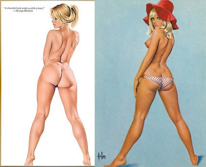 nude blonde pinup from back
