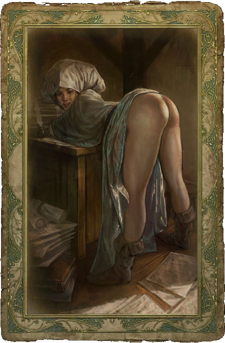 Bare Ass Servant Girl Drawing Card From The Witcher