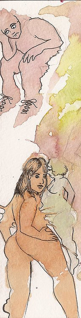 watercolor erotic painting of nude girls